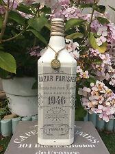 Shabby Chic Vintage Stile Francese Bottiglia/Portacandele con Ciondolo Orologio (779)