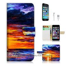 "iPhone 6 Plus (5.5"") Print Flip Wallet Case Cover! Twilight Sea Painting P0042"