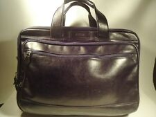 Hartmann Black Leather Expandable Briefcase Laptop Carry-On Messenger Bag