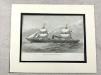 1882 Print  RMS Boyne Ship Royal Mail Steam Packet Company Antique Original