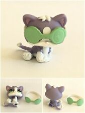 🐱 Littlest Pet Shop #2033 Purple Kitten Baby Cat Green Eye Patch Cucumber 🐱