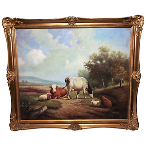 English Oil Painting Cattle Cows & Sheep Pastoral After Thomas Sidney Cooper