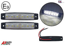 2 x 6 LED white clear side rear front marker lights trailer truck lorry bus 12V