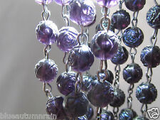 "† UNIQUE LOVLEY LARGE VINTAGE ROSE BUD FLOWER SHAPED PURPLE LUCITE ROSARY  25"" †"