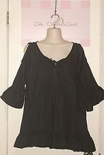WUCAIYI ~ Black Cotton Open Shoulders & Ruffles Blouse Sz L /XL * EXCELLENT COND