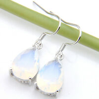Rainbow Moonstone Gemstone Silver Dangle Hook Earrings Drop Earrings Jewelry