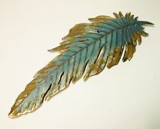 Wall Decor/Metal/Feather/Turquoise Blue/Gold/Sculpture/Home Accent/BoHo Chic
