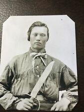 civil war Confederate Military Soldier With Large Knife tintype C660RP