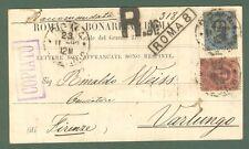 Storia postale. REGNO ITALIA. Cart. commerciale raccom. del 23.11.1892 da Roma..