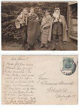 Lustige Männer in Verkleidung ,funny male friends Freaks Foto RPPC 1914 Gay Int