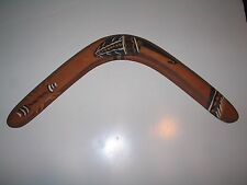 Vintage Wooden Australian Boomerang Hand Painted by Aboriginal Artist