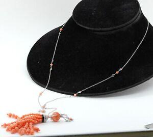 Vintage 18K WG 2.75CT VS1/F diamond onyx coral tassel pendant necklace