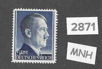 #2871    MNH 5RM Adolph Hitler Third Reich Germany stamp / 1942-1944 / Sc527a