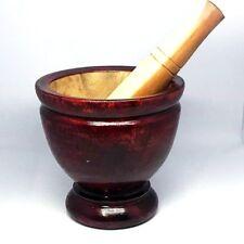 "7"" Mortar Pestle Wooden Kitchenware Cookware Mashed Pound papaya ""Som Tum"" 1 set"