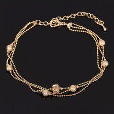 Fußkette  3-fach Perlenkette diamantierte Kugeln Zirkonia Verläng. 22 - 28 cm