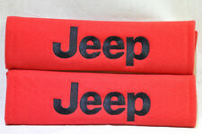 Black on Red JEEP Logo Embroidery Car Seat Belt Cover Harness Shoulder Pads Pair
