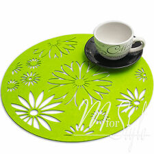 PAIR of Green Round Felt Placemat Table Mat  Floral Design
