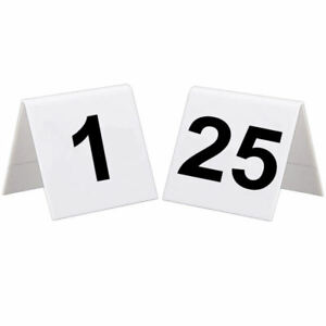 BarBits 1 To 25 Plastic Table Numbers Set - Flexible Wedding Signs Double Sided