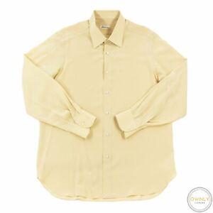 Brioni Cream 100% Silk MOP Spread Collar Dress Shirt 41EU/16US