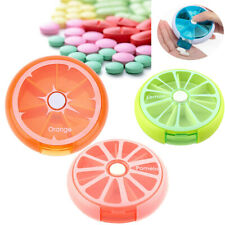 360 Degree Rotation Pill Box 7 Day Round Portable Pill Medicine Organizer Pink