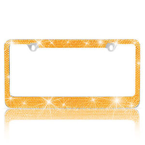 Heavy Duty Metal Yellow Gold Crystal Rhinestone Bling License Plate Frame