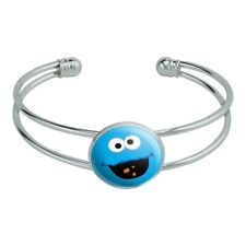 Sesame Street Cookie Monster Face Silver Plated Metal Cuff Bracelet