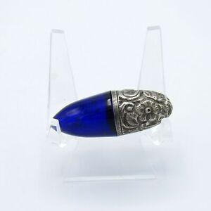 Antique Sterling And Cobalt Glass Perfume Scent Bottle, Bullitt Shape, NR