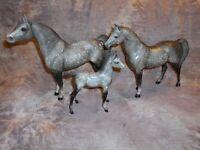 Breyer Proud Arabian Stallion,Mare,& Foal Dark Cool Dapple, Nice Set!