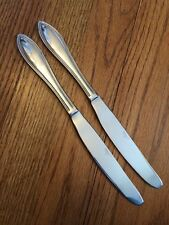 """Pfaltzgraff Stainless Outlined Point Tip AMERICAN BEAD 2 Dinner Knives EUC 9.5"""""""