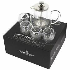 Grunwerg Cafe Stal Glass Cafatiere Coffee Maker and 4 Cups