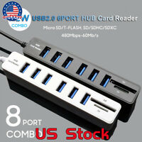 Laptop 6 USB 2.0 Hub 8 Port SD TF Memory Card Reader Desktop Computer Plug US