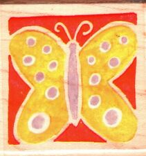 Rubber Stampede ~ BUTTERFLY SQUARE ~ Wood Mounted Rubber Stamp Nature Animals