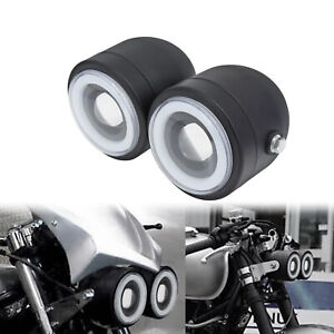 Univelsal Motorcycle Twin Dual Headlight Lamp W/Angel Eyes Light Fit For Harley