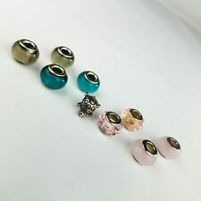 Lot of 9 Glass Beads & 1 turtle Charm