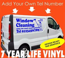 Gráfico de vinilo pegatina van de limpieza de Ventana Calcomanía Signo hace logotipo personalizado de vehículo