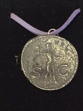 "Roman Coin Claudius WC1 Made From  English Pewter On 18"" Purple Cord Necklace"