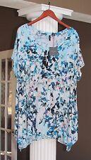 CYNTHIA ROWLEY Aqua Multi Floral Short Sleeve Sharkbite Hem Tunic Top  Sz 1X NWT
