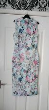 New Ladies Blue Floral High Neck Midi Bodycon Dress Size 8