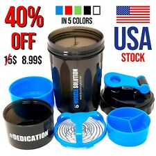 Blender Bottle Protein Powder Shaker Mixer Cup Gym Workout Extra Container Jar