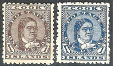 Cook Islands 1893 brown 1d blue 1d perf 12X11.5 mint SG5/6
