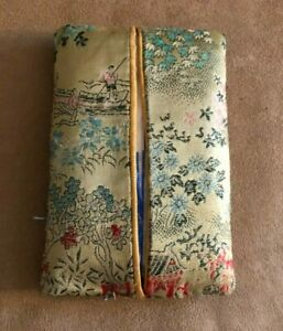 Asian Inspired Brocade Fabric travel pack Tissue Holder Cover gold