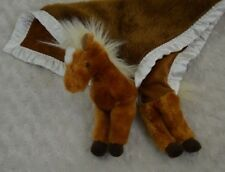 My Banky Horse Pony Lovey Security Blanket Brooke Brown White Silky Edge Plush