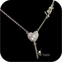 18k rose gold made with SWAROVSKI crystal key heart pendant love necklace