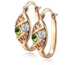 18 k Gold Plated Green & White Crystal Hoops Earrings E421