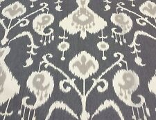 """MAGNOLIA HOME JAVA PEWTER GRAY IKAT TOSCANA FURNITURE FABRIC BY THE YARD 54""""W"""