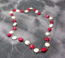 """Freshwater Coin Pearl & Coral Stone Necklace    24"""""""