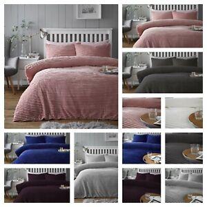 Teddy CHUNKY RIB Duvet Set Luxury  Fleece Quilt Cover Bedding Set All UK Sizes