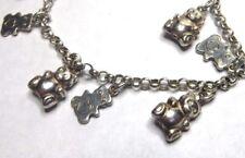 "Italian 7"" Sterling Silver 10 Tiny Teddy Bear Charms Link Bracelet"