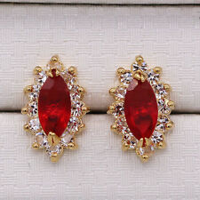 Pretty New 18K Gold Plated Ruby Red Topaz Marquis CZ Crystal Stud Earrings