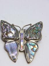 Brosche Schmetterling Butterfly Mexiko Abalone Silber Brosch Alpacca Muschel 178